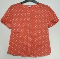 COTTON TRADERS Top CORAL/WHITE Polka Dot Short Sleeved VGC Women's Size UK-16