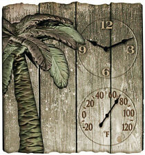 Taylor Palm Tree 14 Inch Square Outdoor Wall Clock and F Thermometer for Patio