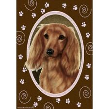Paws House Flag - Longhaired Red Dachshund 17138