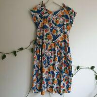 Vtg Blue Jar Flower Kitchen Print Button Back Cotton Dress M-L ALine TieSleeve