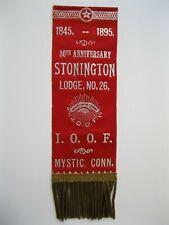 Antique 1895 I.O.O.F Stonington Lodge Memorial Medal Badge Ribbon Pin Mystic, CT
