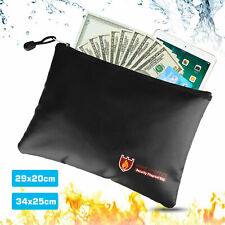 Fireproof Waterresistant Money Safe Cash Box Secret Document Bag File Pouch M/L