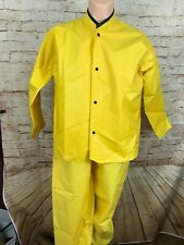 JOMAC 2 Piece PVC Protective Clothing Yellow Rain Safety Suit Med Bib Pants