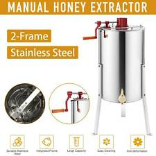 "2-Frame Manual Honey Extractor Beekeeping Honeycomb Drum 24"" Stainless Steel/Ss"