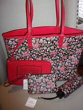 NWT COACH F57668 POSEY FLORAL REVERSIBLE CITY TOTE,WRISTLET AND UMBRELLA
