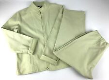 EILEEN FISHER 2pc Textured Crop Pant & Jacket Stretch Size M Medium Mint Green