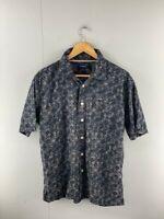 Croft & Barrow Mens Vintage Black Floral Short Sleeve Shirt Size Small