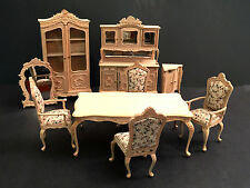 Vintage Bespaq Dollhouse Miniatures French Victorian Dining Room Furniture 9 pc.