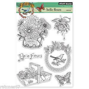New Penny Black BELLE FLEURS Clear Stamps Garden Bird Butterflly Flowers Basket