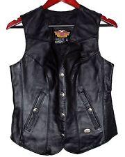 HARLEY DAVIDSON Motorcyle Leather Womens Vest Snap Logo Buttons Size XS USA NWOT