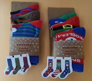 Pack of 3 Xmas children's socks, 2 designs, 3 sizes