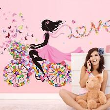 Flower Bikecycle Girl Wall Stikcer Art Decal DIY Children Room Home Decor Mural
