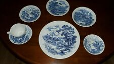 7 pc. Wedgwood Blue Willow China place setting, Countryside pattern, 1940s