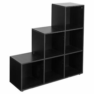 Step Style 6-Cube Storage Bookshelf Wooden Bookcase Display Shelf Cabinet Black