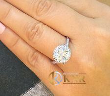 14k White Gold Round Forever One Moissanite Diamond Engagement Ring Halo 3.50ct