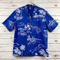 Vintage Royal Creations Aloha Shirt Size L Hawaiian Island Map Blue Palm Floral