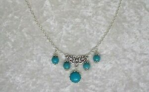Turquoise 12 mm Cabochon, Turquoise Bead Chain Necklace.Handmade In Gift Bag