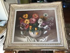 Antique Estate Original Oil Painting Floral Signed Beautiful Detail