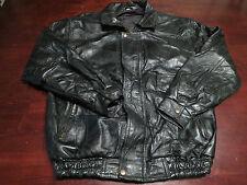 Vtg Mens Leather Mod Indie Bomber Motorcycle Biker Black EUC Jacket Coat Sz M