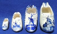 "Set 4 Antique/Vtg 5"" Holland Blue White Delft Windmill Ceramic Souvenir Shoes"
