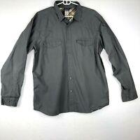 Patagonia Organic Cotton Shirt Mens L Gray Long Sleeve Button Front Flap Pocket