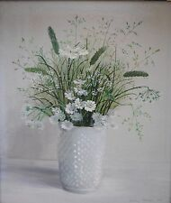 TIMELESS AUDREY JOHNSON OIL PAINTING OF MARGUERITES, COW PARSLEY & GRASSES, SIGN