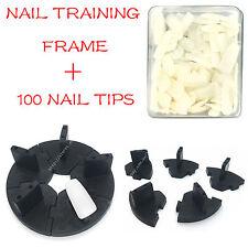 Nail Art Nail  Removable Training Frame  + 100PCS False Tips Practice Tool BLACK