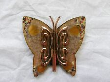 MATISSE SIGNED COPPER VINTAGE BROOCHE/PIN ENAMEL BUTTERFLY NICE COLORS