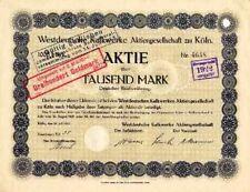 Westdeutsche Kalkwerke Köln hist. Aktie 1921 RWK Rheinkalk Kalk + Portlandzement