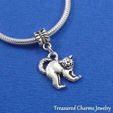 Silver SCAREDY CAT Halloween Dangle Bead CHARM fits EUROPEAN Bracelet