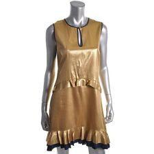 Juicy Couture Gold Metallic Silk Sleeveless Party Cocktail Dress 2 - NEW