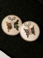 Vintage alpaca silver clip on butterfly earrings