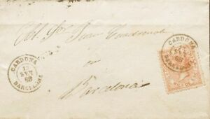 España. Cataluña. History Postal. Over 96. 1868. 50 Mils Chestnut Amarillo. Ca
