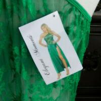 NWT BRIGHT GREEN SATIN & LACE ELEGANT MOMENTS WOMEN'S LONG NIGHTGOWN w/SLIT 2X