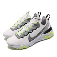 Nike Wmns React Element 55 PRM White Grey Volt Women Running Shoes CD6964-100