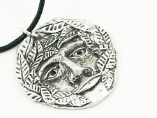 Green Man English Pewter pendant , Pagan, Wicca, Gothic. Ptotection