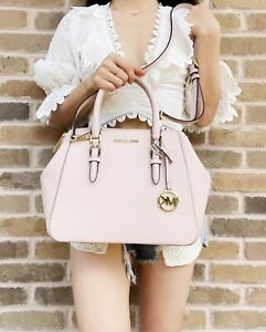 Michael Kors Charlotte Large Satchel Powder Blush Pink Leather Handbag Crossbody