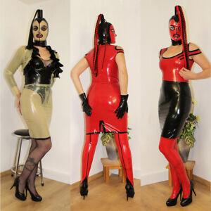 100% Latex Mini Skirt Rock mit Schlitz in schwarz,rot,natural - Größen: 34bis46