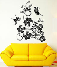 Vinyl Wall Decal Bouquet Of Flowers Butterflies Garden Nature Stickers (1328ig)