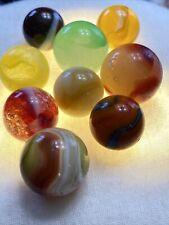 9 Antique Glass Marbles Akro Agate Corkscrew Vaseline Uranium Shooters