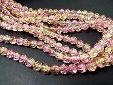 160pcs 6mm CRACKLE Glass Round Beads - PINK & GOLD (1 strand ) Themecrafts
