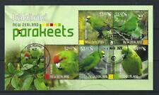 NEW ZEALAND 2020 PARAKEETS MINIATURE SHEET FINE USED