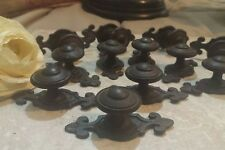 24 brown Drawer Cabinet Pulls Knobs Salvage vtg dressers backplate bronze rubbed