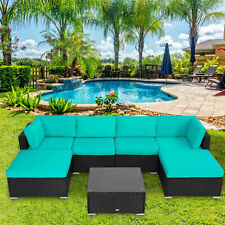 7 PC Patio PE Rattan Wicker Sectional Sofa Set Cushioned Couch Outdoor Furniture