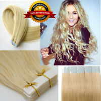 Seamless Tape In Skin Weft 100% Remy Human Hair Extensions 14-24Inch 20Pcs US EF