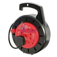 Cable Reel 240V 4 Socket 10A 10M Tools Extension Lead Cable Rewind Handle