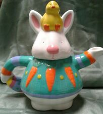 CERAMIC BUNNY & PEEP COLLECTIBLE TEA POT  BY RUSS BERRIE AND COMPANY