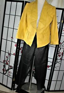 CASUAL CAREER  LEATHER PANTS SUIT  SEPARATE BLACK YELLOW 18-20 PLUS