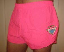 "Vtg 80s 90s WIPEOUT Neon HOT PINK Surf SMALL Rad 2"" Inseam gay Nylon shorts S"