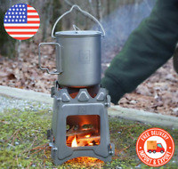 NEW Titanium Ultralight Outdoor Camping Folding Wood Stove Backpack Travel Stove